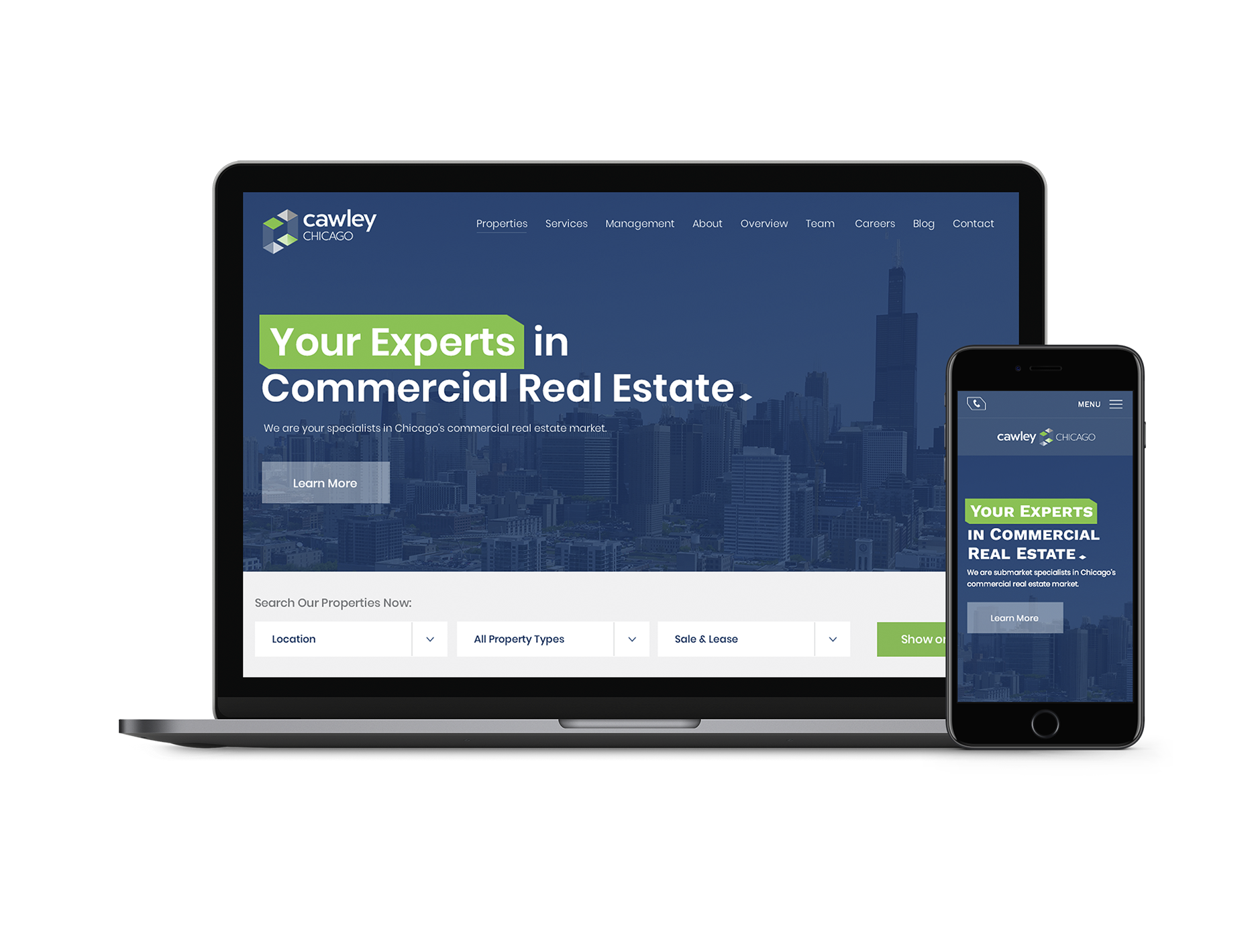 Cawley Chicago Commercial Real Estate Website Digital Marketing